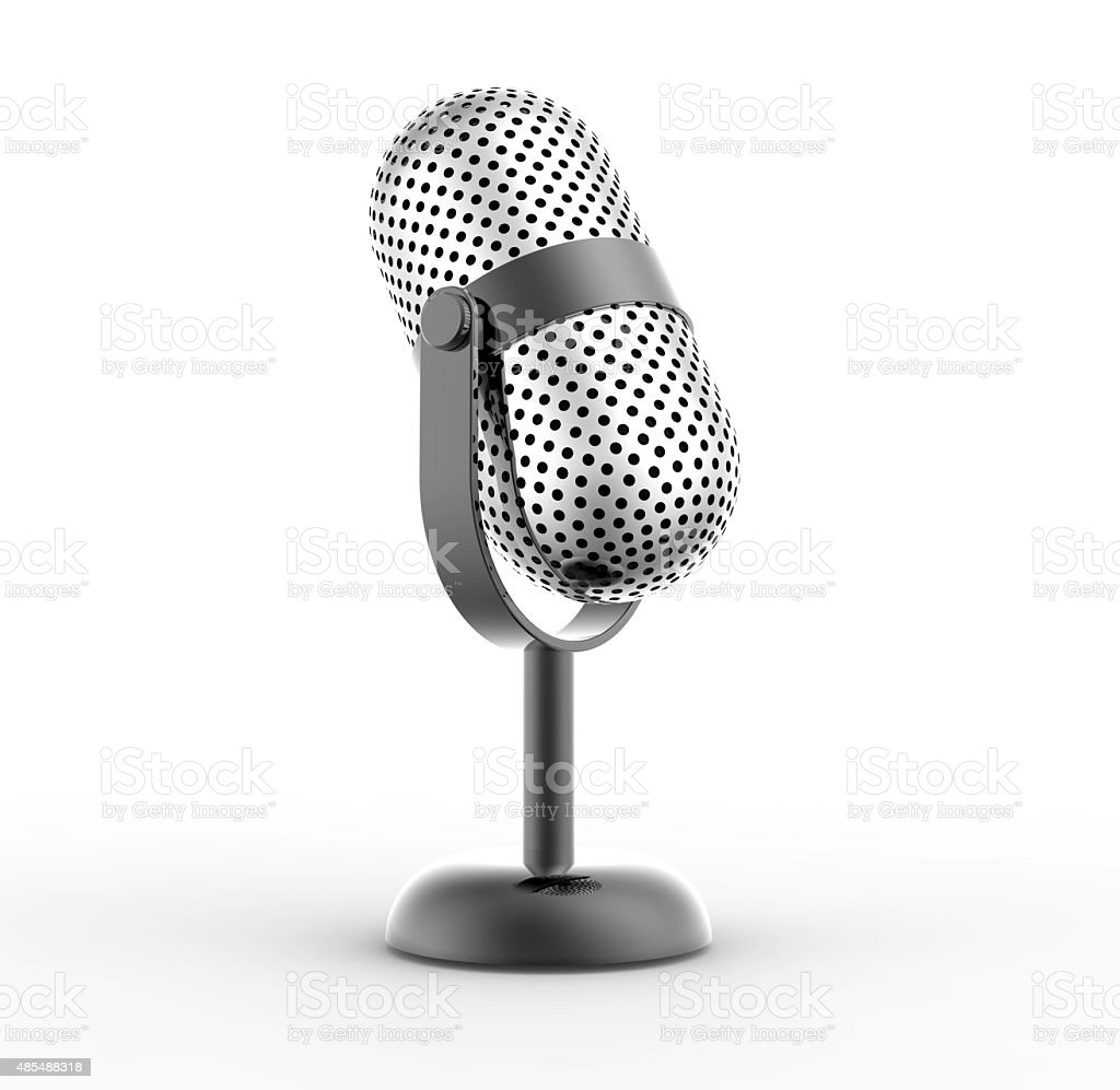 Vintage silver microphone stock photo