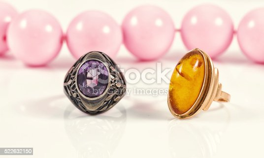 istock Vintage silver ring with amethyst and gold ring with amber 522632150
