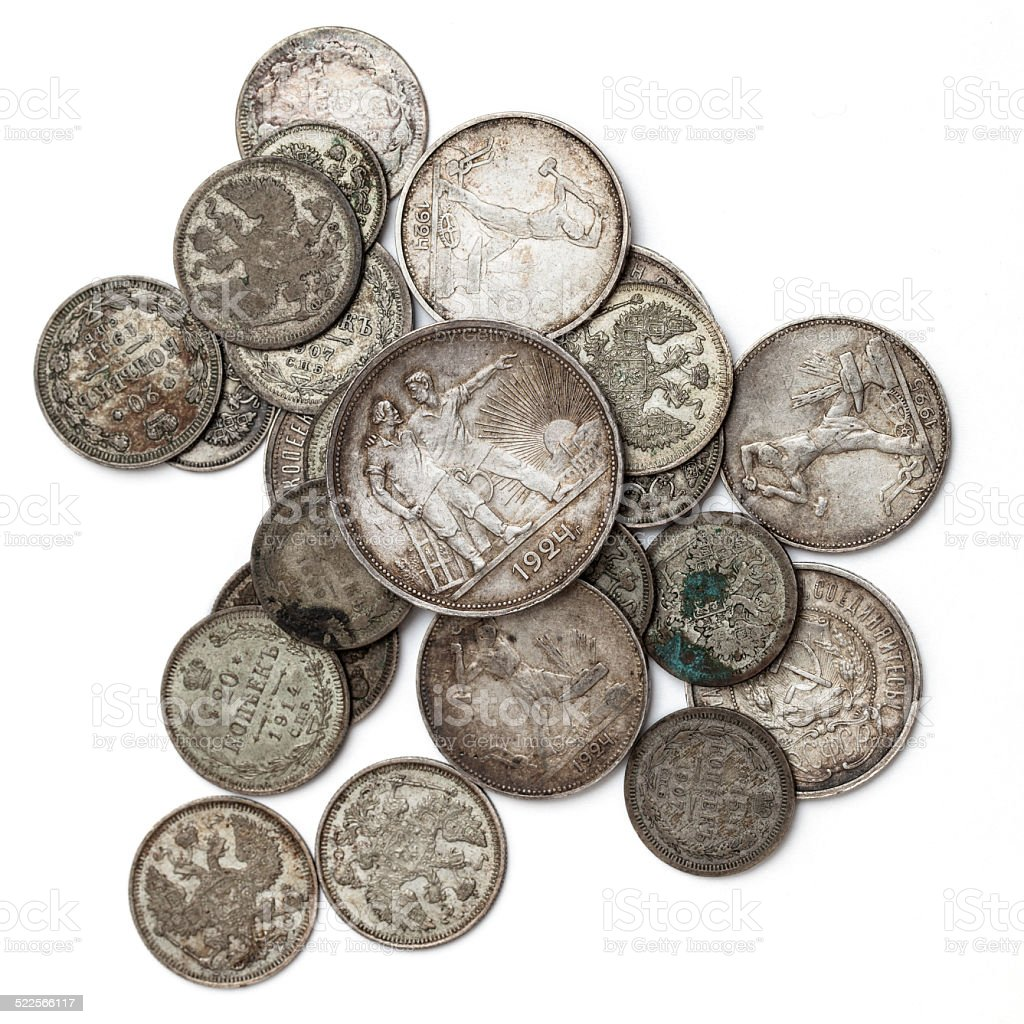 Vintage silver soviet coins, isolated on white background stock photo