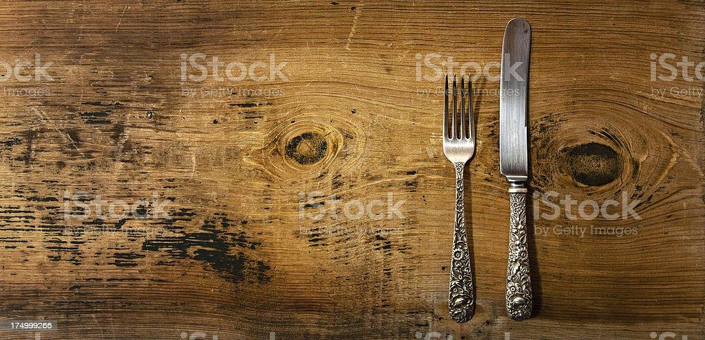 Vintage Silverware on Rustick Grunge Wooden Background stock photo