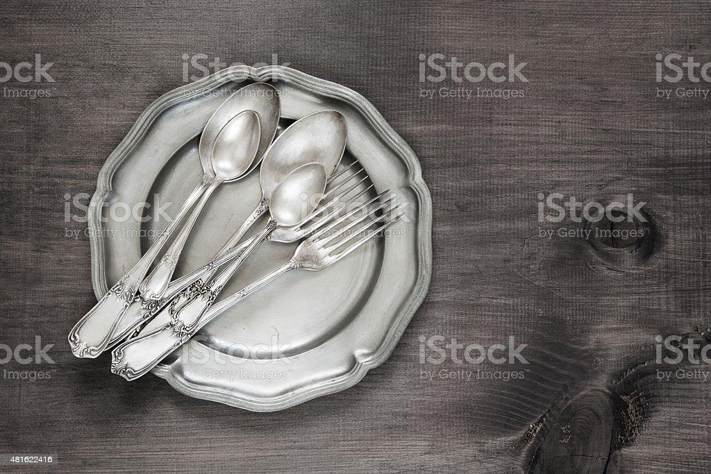 Vintage silverware stock photo