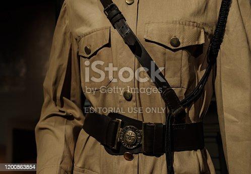 Singapore-09 DEC 2017:vintage Singapore police uniform display in museum