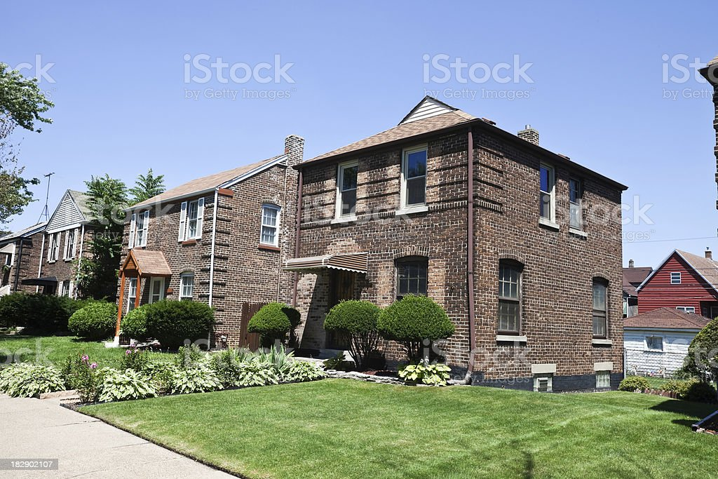 Vintage Single Family Homes in East Side, Chicago royalty-free stock photo