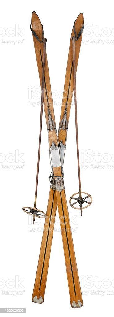 Vintage Skis & Poles - Crossed stock photo