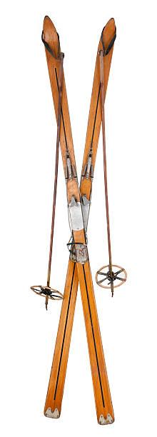 vintage sci & i bastoni incrociati - ski foto e immagini stock