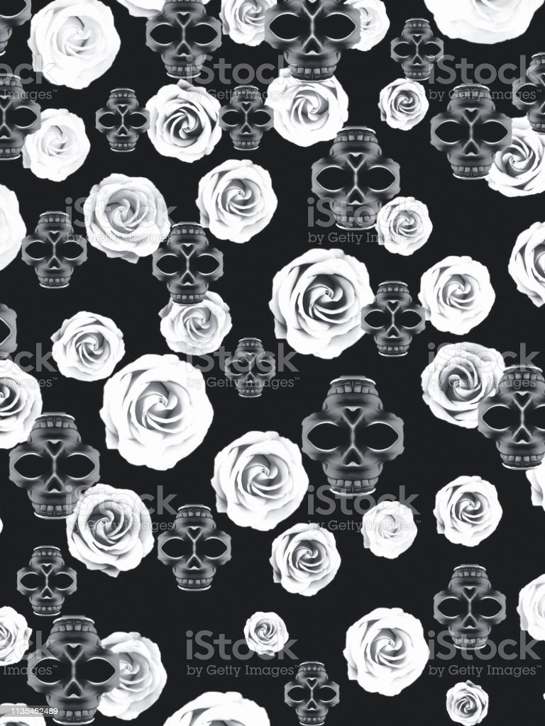vintage skull and rose abstract pattern in black and white