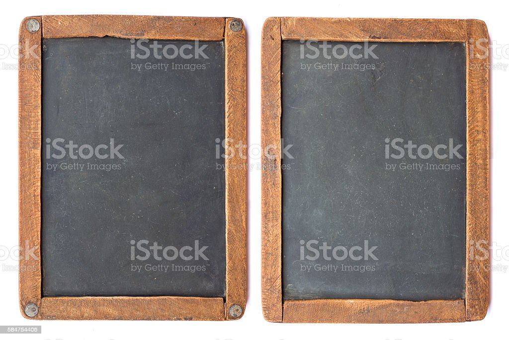 Vintage slake blackboard isolated on white. - Photo