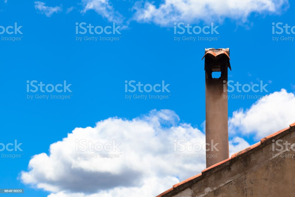 Vintage Smokestack and Sky royalty-free stock photo