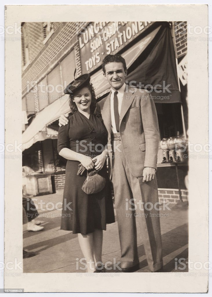 Vintage Snapshot of a Couple in Brooklyn royalty-free stock photo