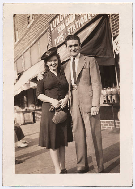 vintage snapshot of a couple in brooklyn - 1940s style stock photos and pictures