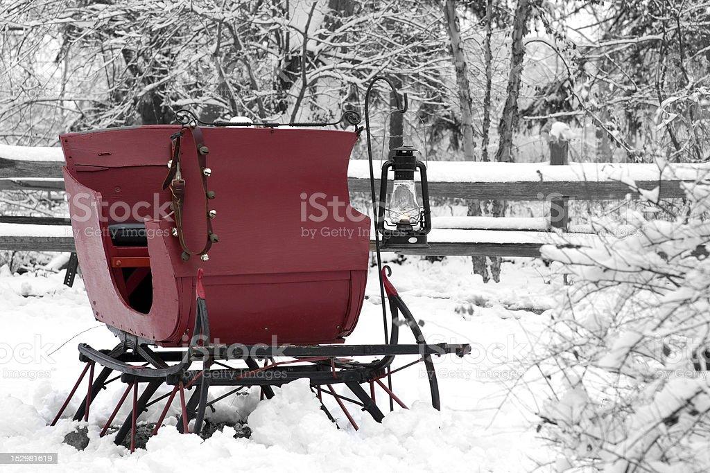 Vintage snow sleigh stock photo
