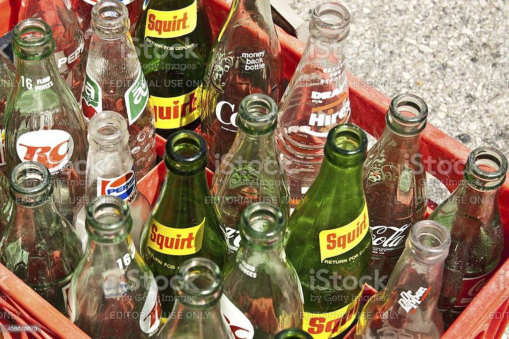 Vintage Soda Bottles stock photo