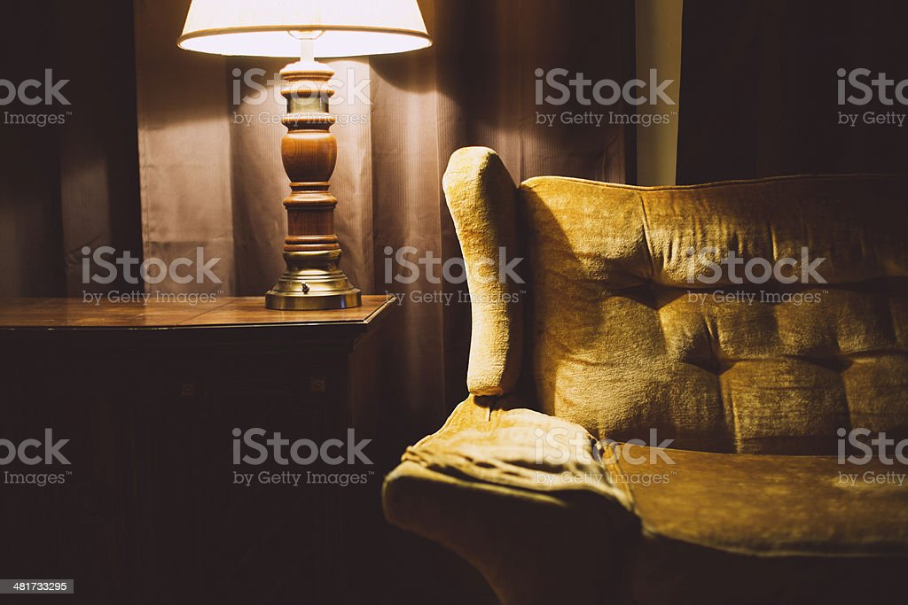 Vintage Sofa and Retro Living Room Decor stock photo