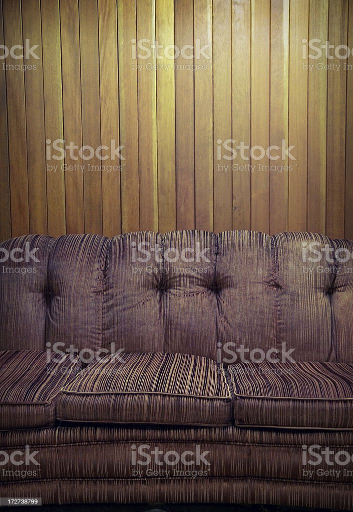 ... Vintage Sofa And Wood Paneling With Copy Space Stock Photo ...