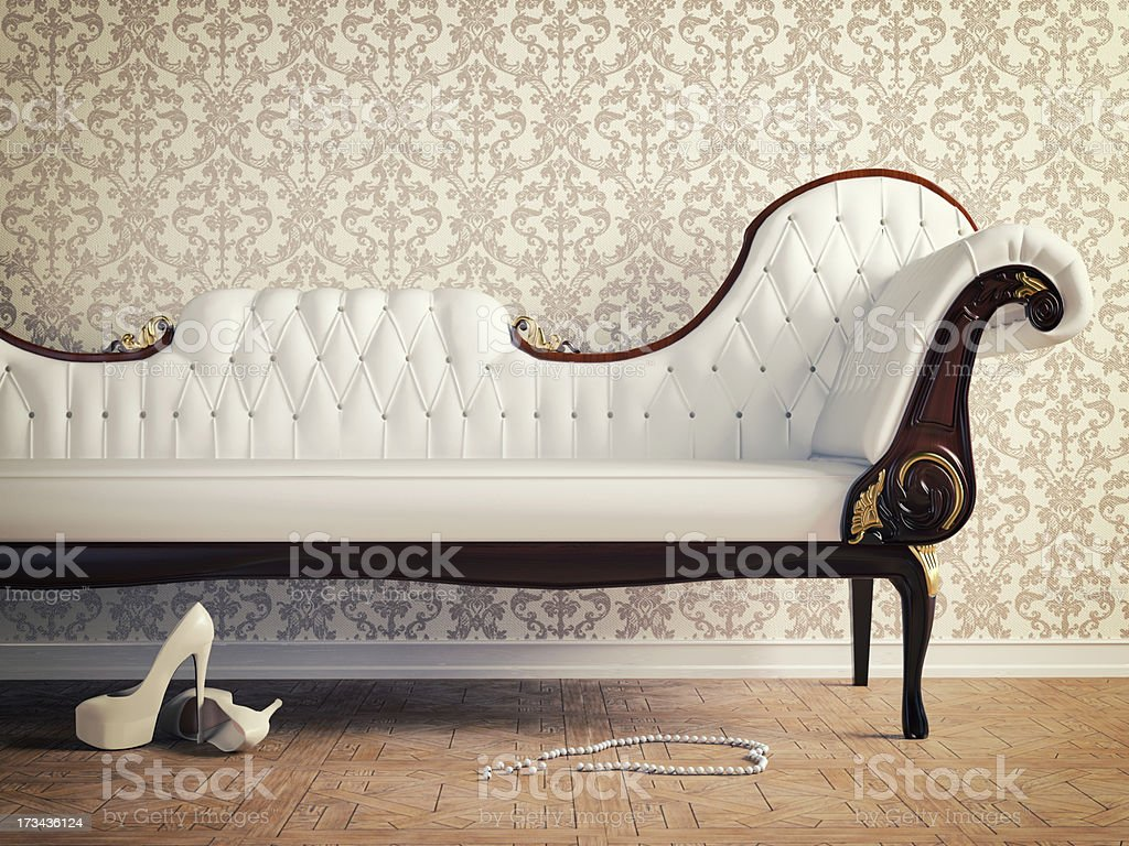vintage sofa stock photo