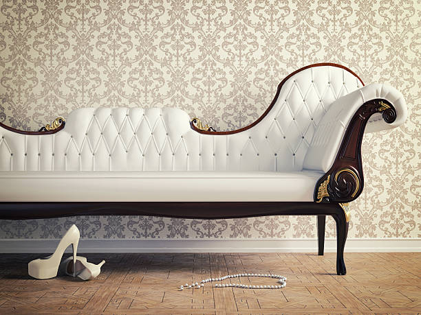 vintage sofa vintage sofa and wallpaper wall (retro-style illustration) chaise longue stock pictures, royalty-free photos & images