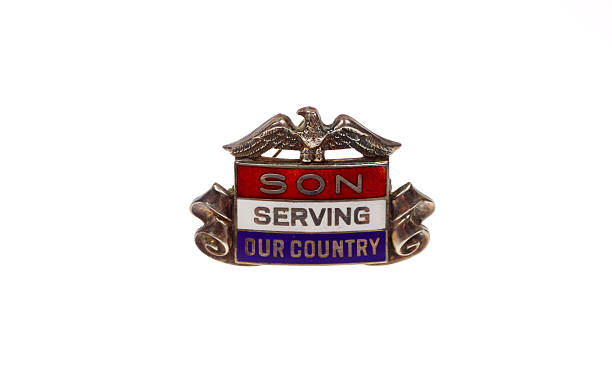 Vintage Son In Service Pin stock photo