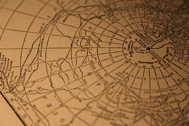 vintage South Pole map  longitude stock pictures, royalty-free photos & images