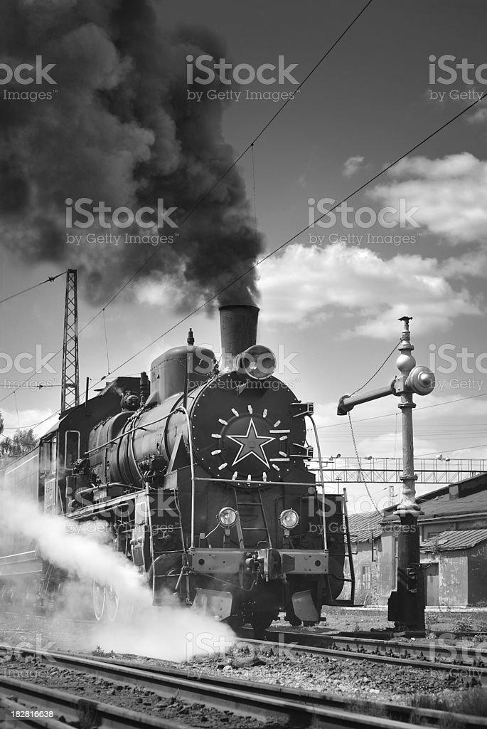 Vintage Soviet Steam Locomotion. Black and white image royalty-free stock photo