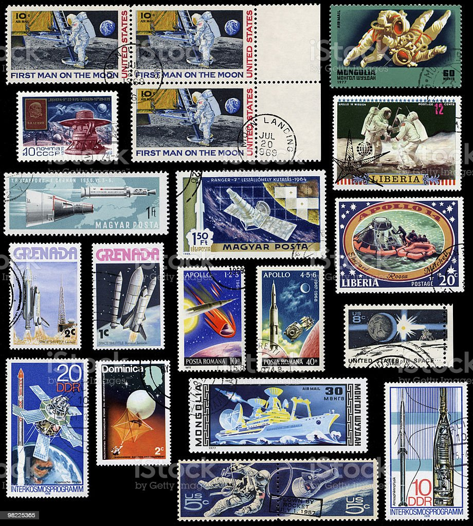 Vintage Space Stamps royalty-free stock photo