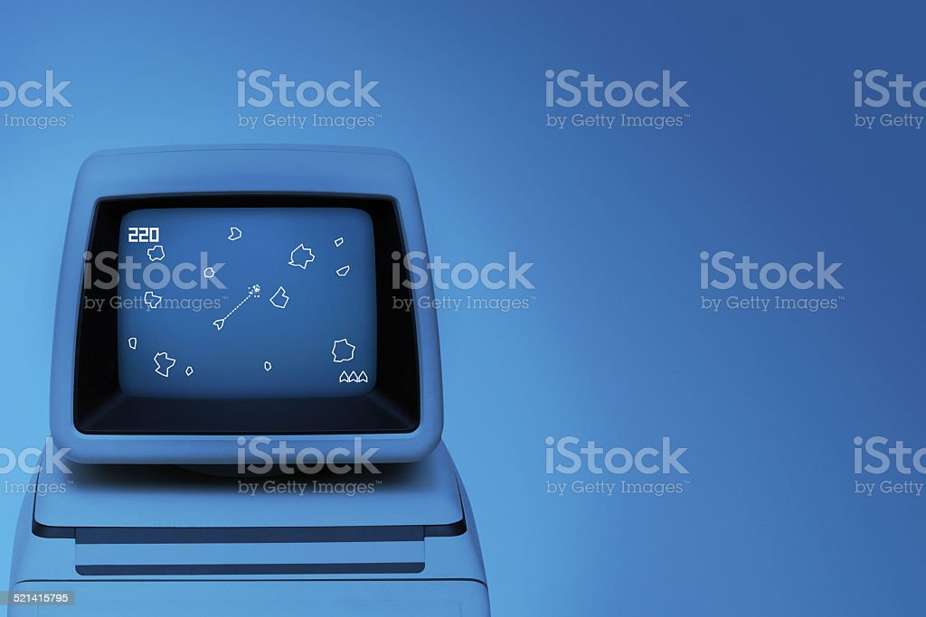 Vintage space videogame on old computer monitor stock photo