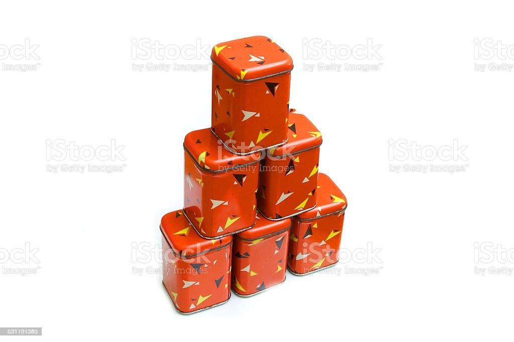 vintage spice boxes stock photo