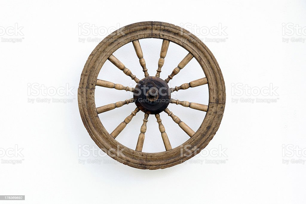 Vintage Spinning Wheel on White Wall stock photo