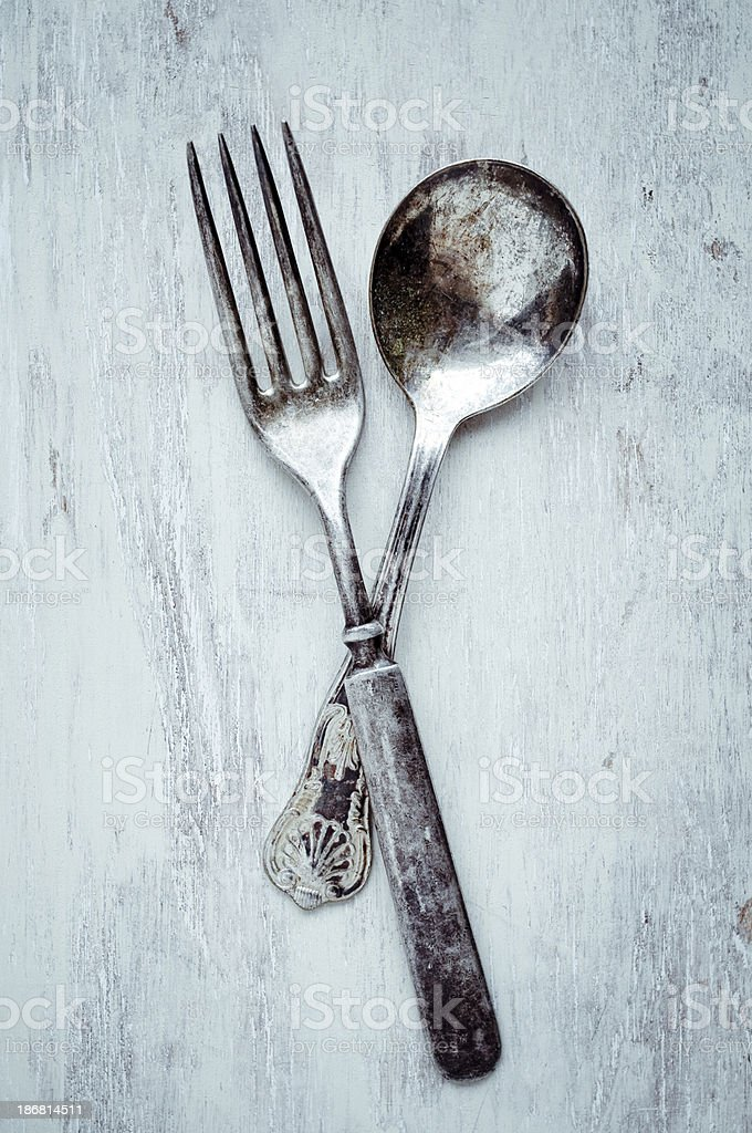 Vintage Spoon and Fork stock photo