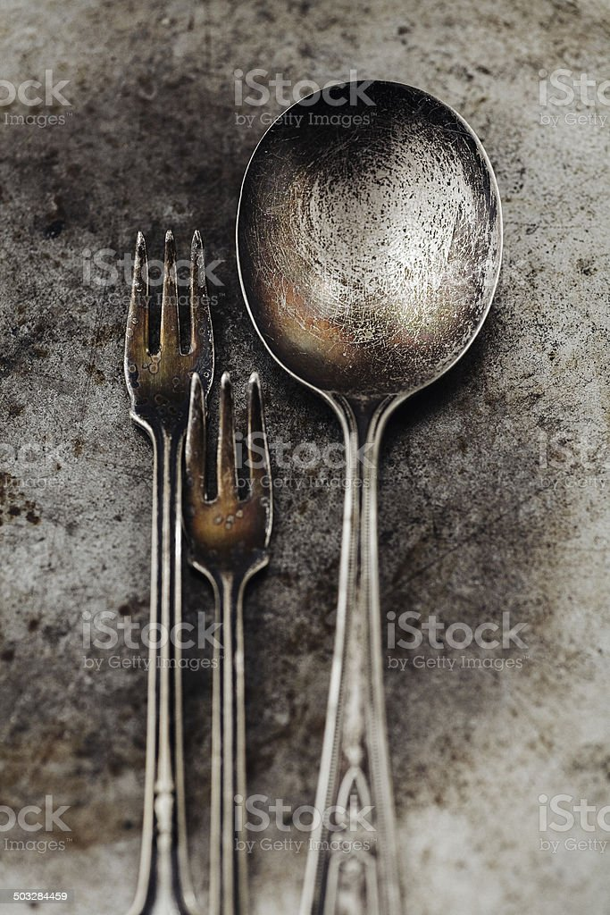 Vintage spoon and forks royalty-free stock photo