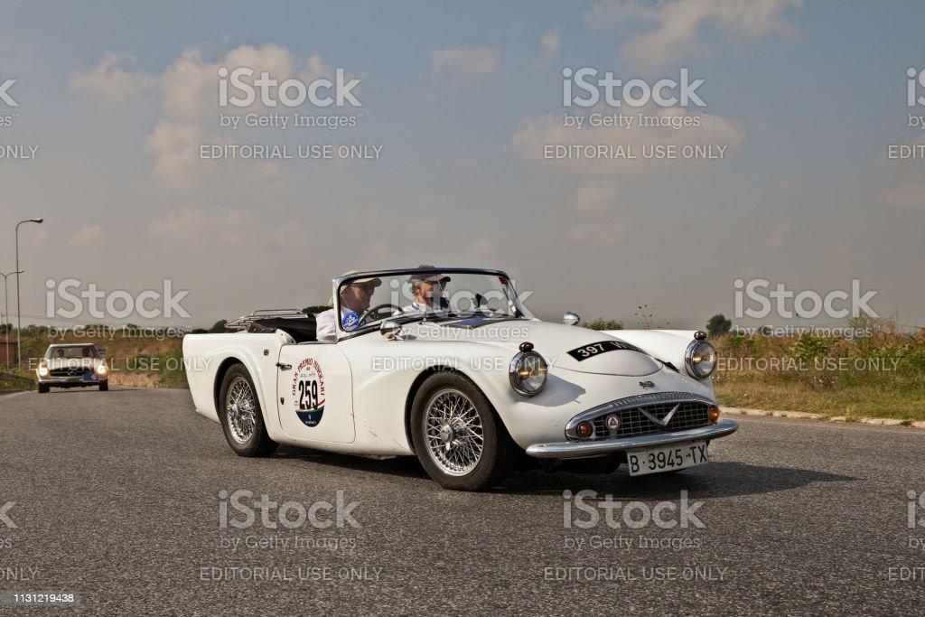 vintage British sports car Daimler 250 SP in classic car race Gran...