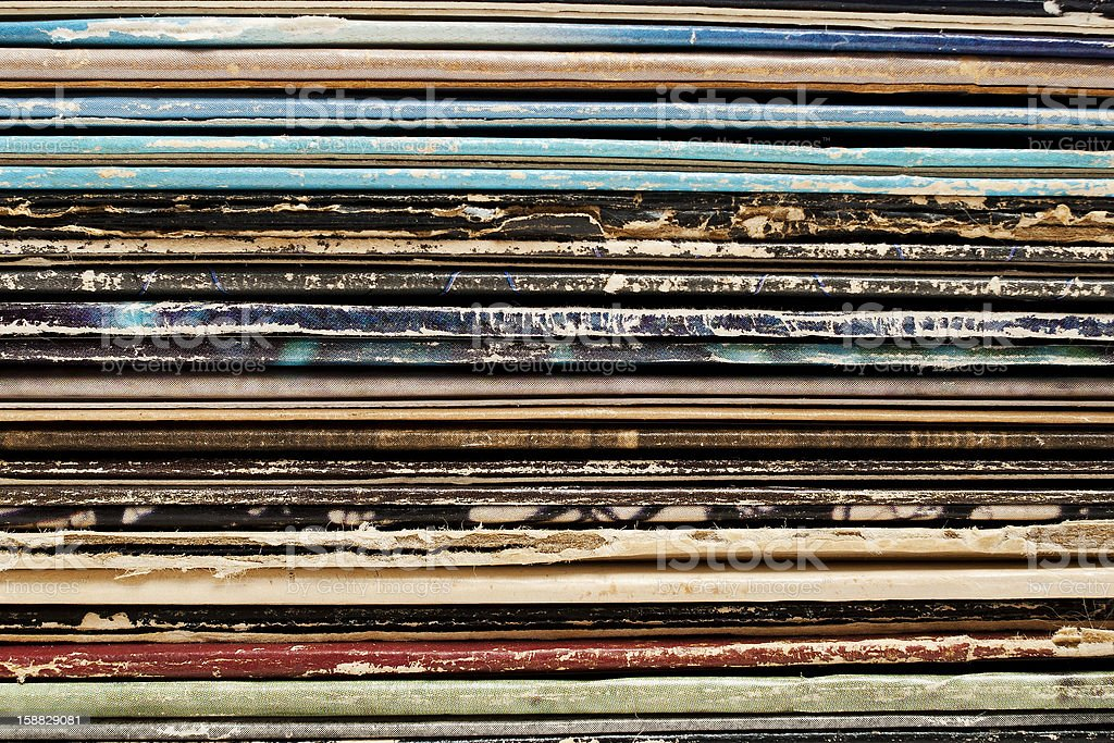 Vintage Stack of Records stock photo