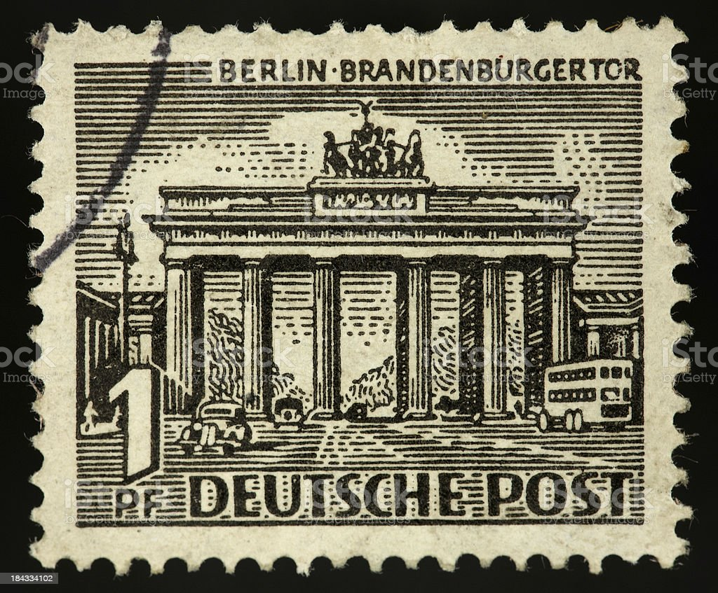 Vintage stamp germany 1 penny brandenburger gate stock photo
