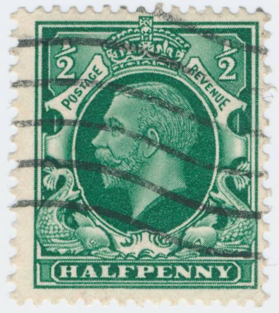Vintage stamp printed in Great Britain 1934 shows , King George V - foto stock