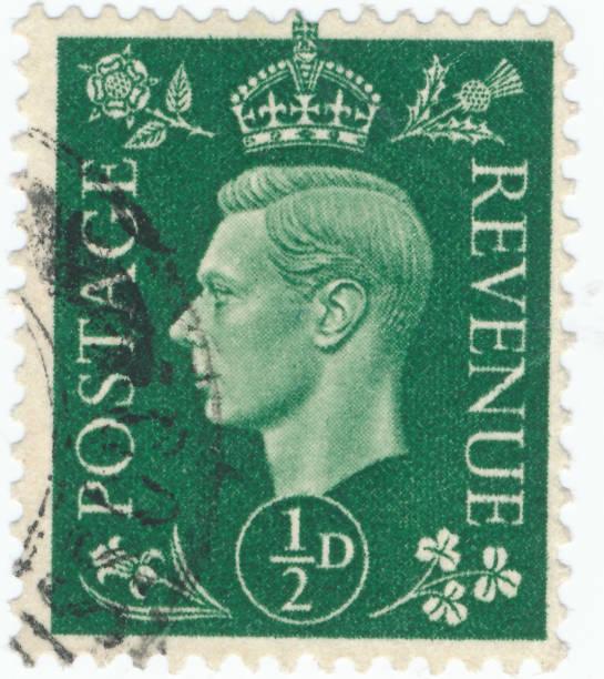 Timbre Vintage imprimé en Grande-Bretagne 1939 montre, King George VI - Photo