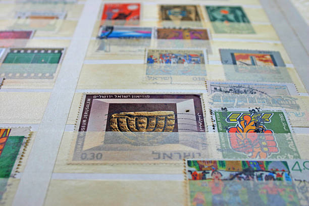 Vintage stamps Israel stock photo