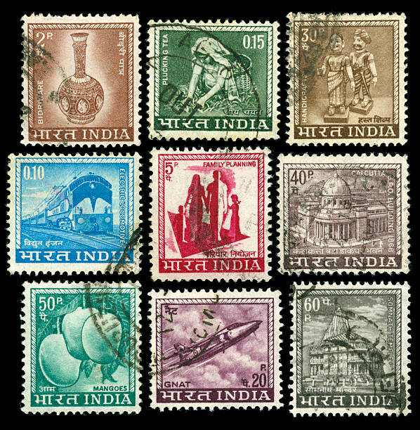 Vintage stamps of India stock photo