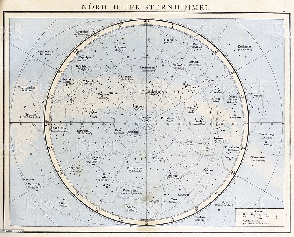 Vintage Star Chart 1890 Stock Photo - Download Image Now ...