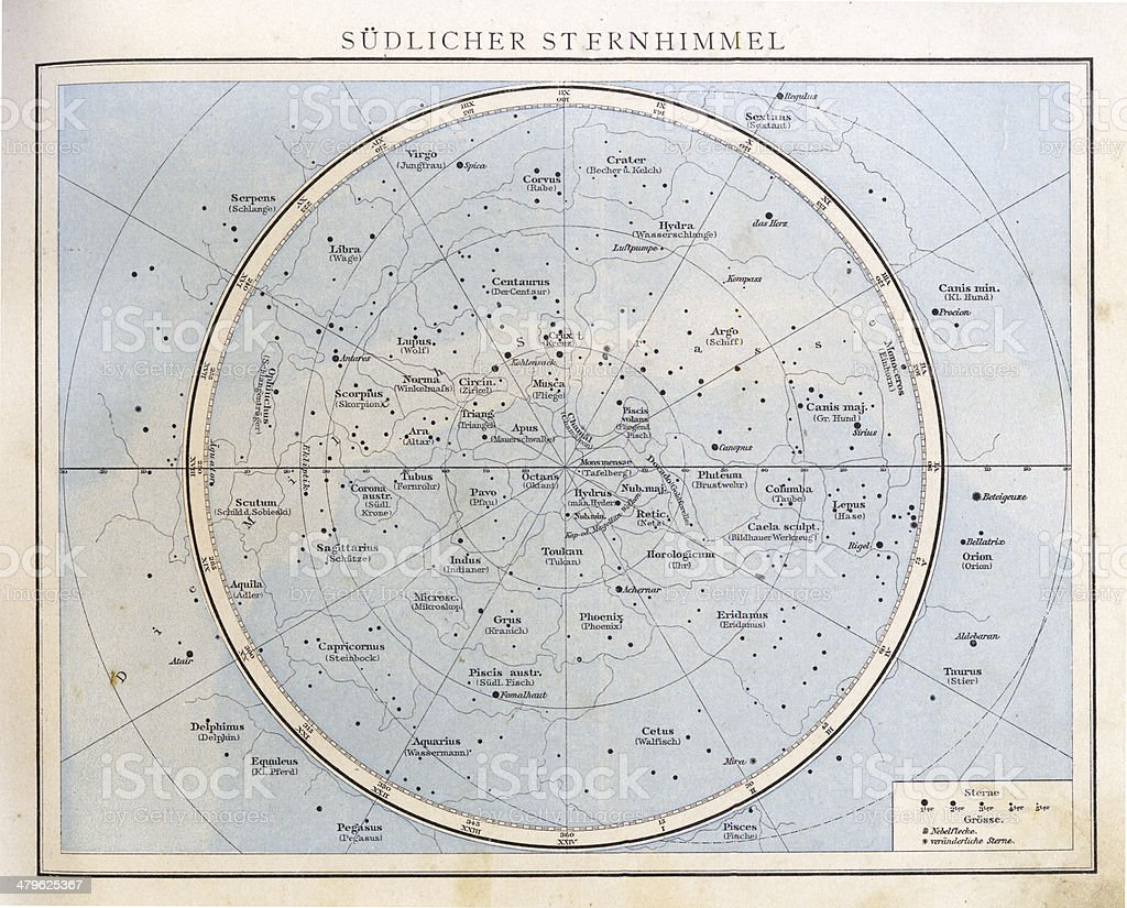 Vintage Star Chart, 1890. stock photo