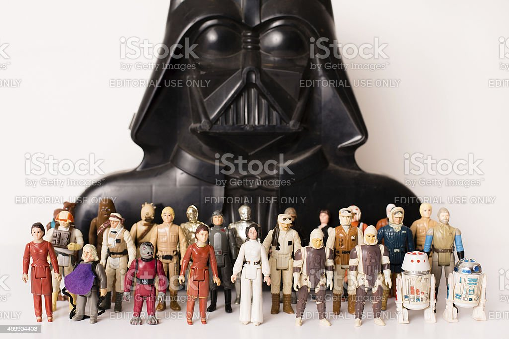 Vintage Star Wars Toys and Darth Vader Storage Case stock photo