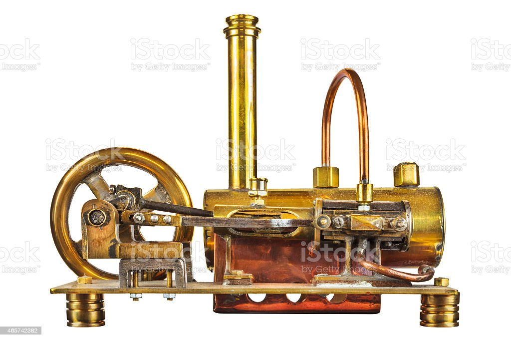 Vintage steam engine isolated on white stock photo
