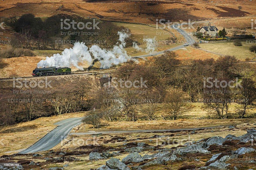 Vintage steam engine, North York Moors, Yorkshire, UK. stock photo
