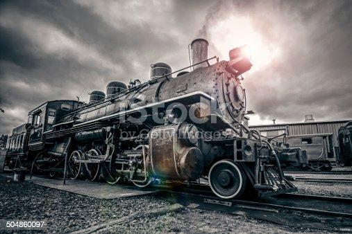 Vintage Steam Engine, toned image. Grain added.
