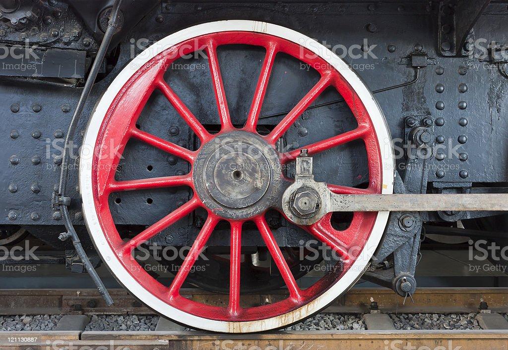 Vintage steam locomotive wheels stock photo