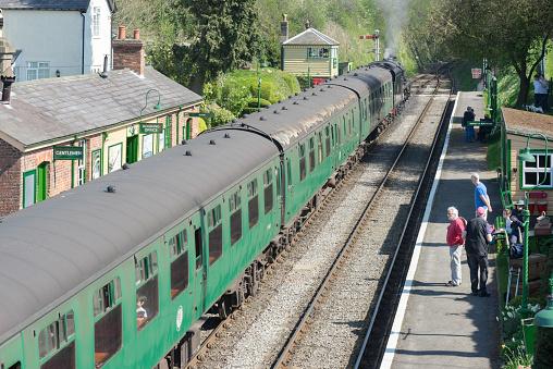 istock Vintage steam train at Medstead railway station 666783068