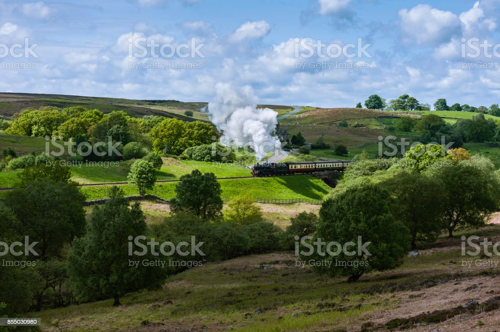 Vintage steam train in North York Moors, Yorkshire, UK. stock photo
