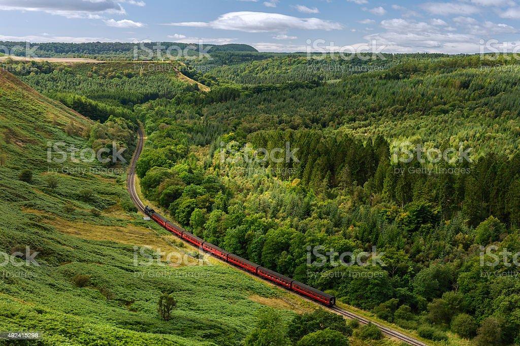 Vintage steam train North York Moors, Yorkshire, UK. stock photo