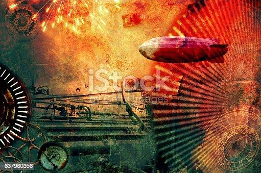 istock Vintage steampunk design background 637960356