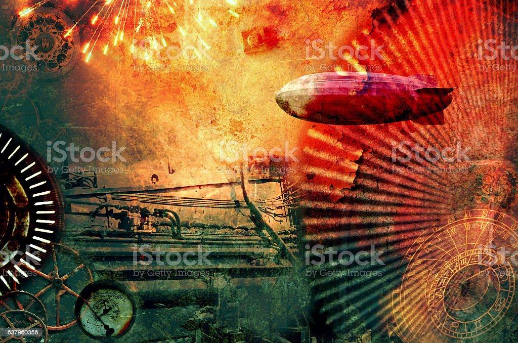 Vintage steampunk design background stock photo
