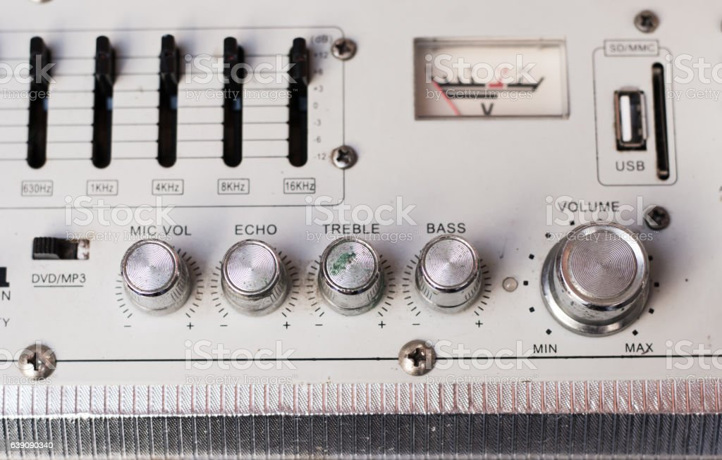 Vintage stereo system close up stock photo