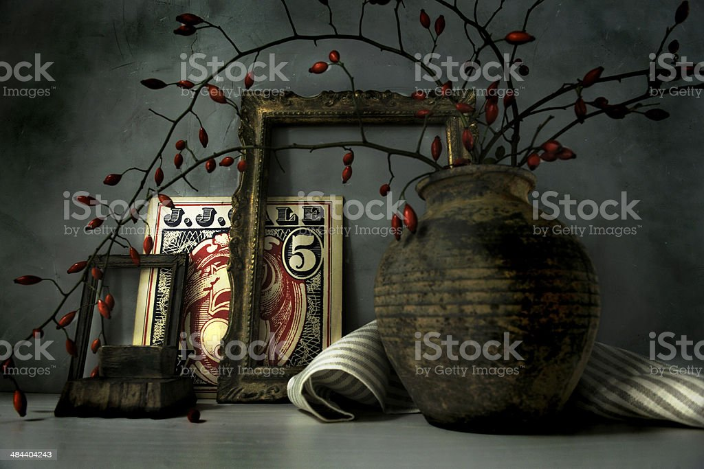 Vintage still life with desk set and ancient books stock photo